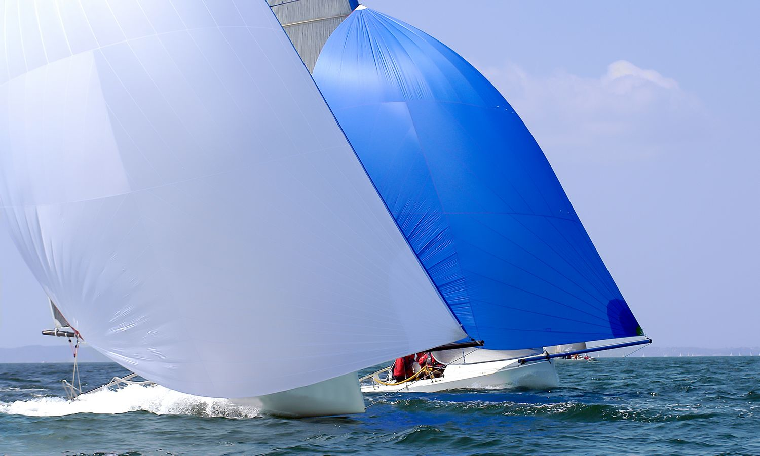 two yacht with spinnaker at regatta