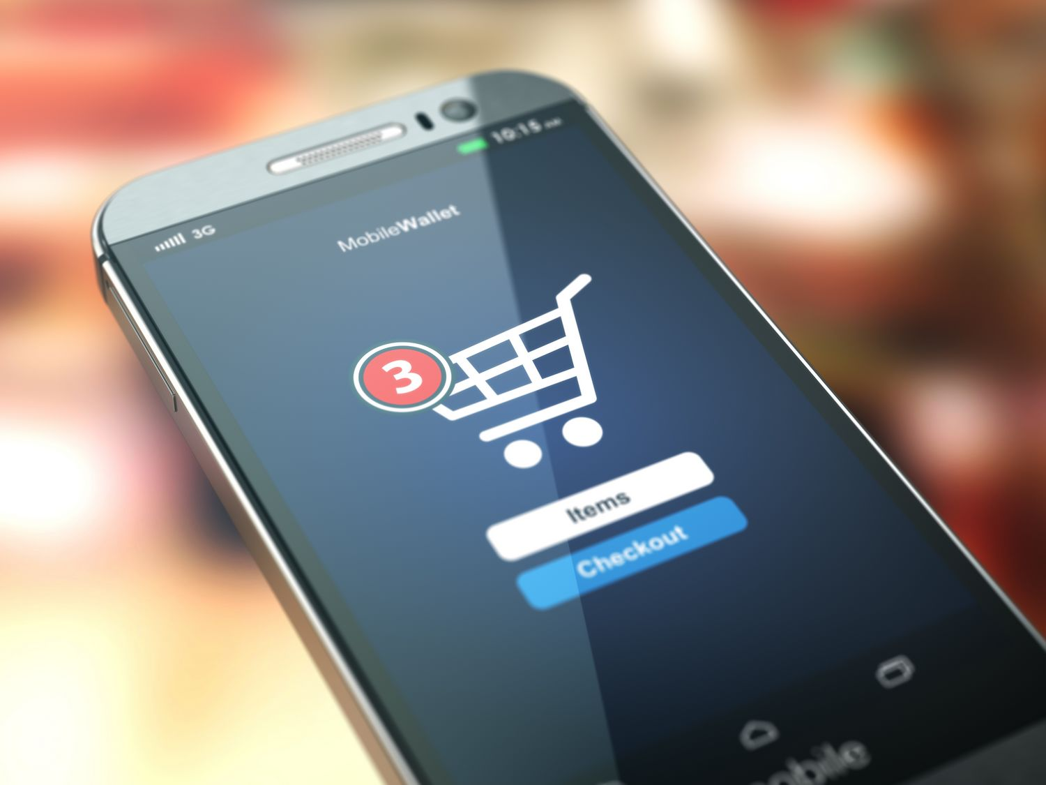 Online shopping concept. Mobile phone or smartphone with cart on